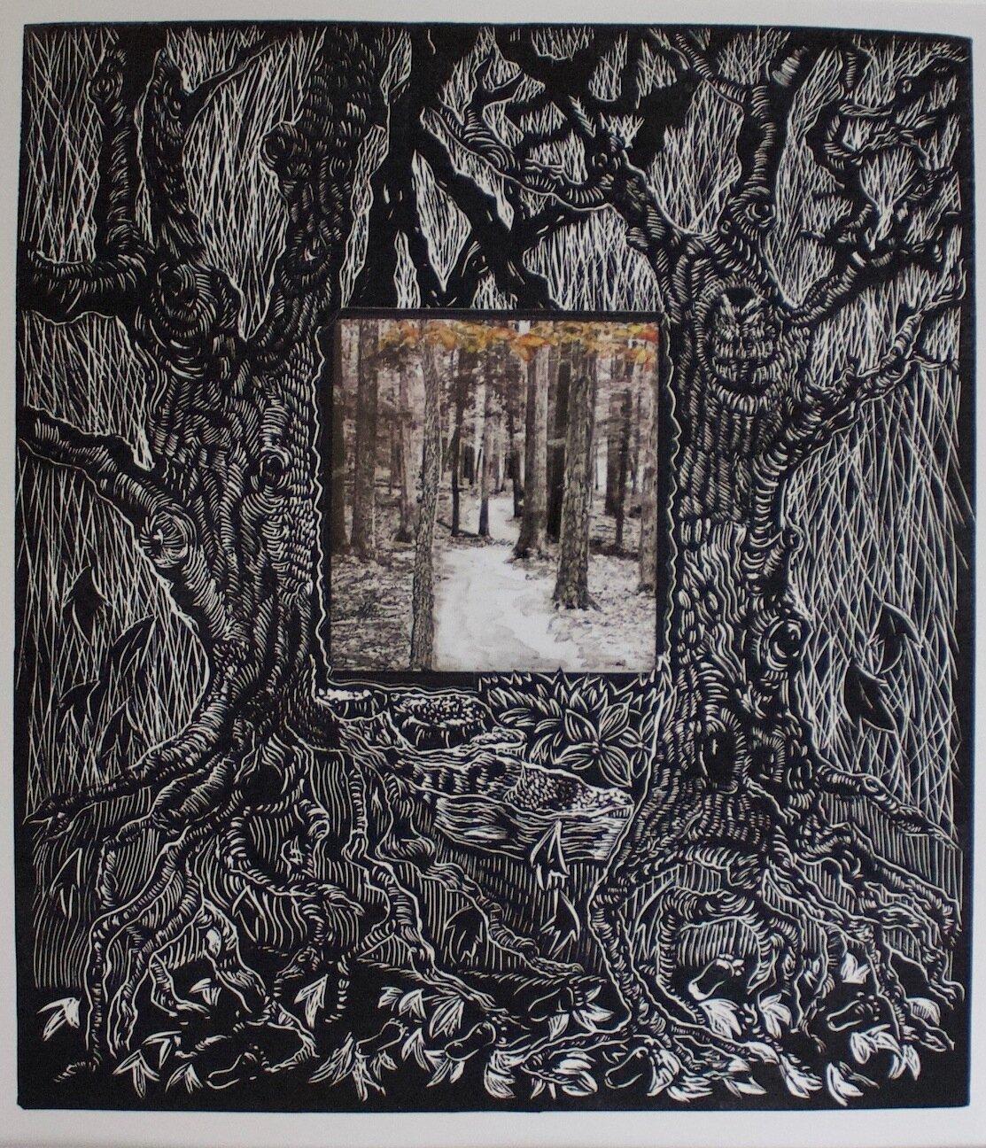 """Untitled"" by Debby Stratford, printmaking, 16x30in, linoprint, $175.00"