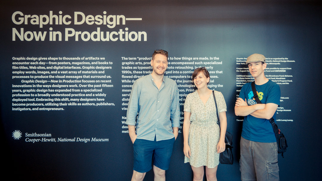 The Art of the Title team in 2012 at the  Graphic Design—Now in Production  exhibition on Governors Island, New York. From left: Senior Editor Will Perkins, Managing Editor Lola Landekic, and Founder Ian Albinson.