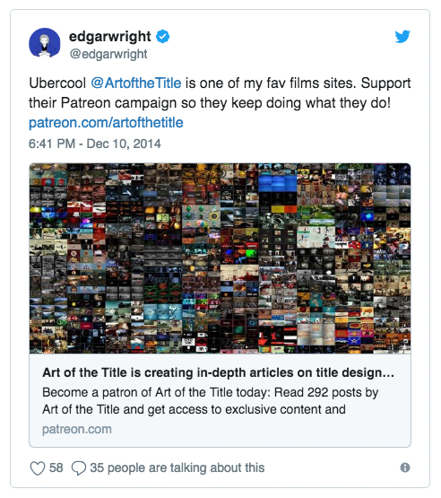 Director Edgar Wright ( Baby Driver ,  Shaun of the Dead ,  Scott Pilgrim vs. The World ) tweeted about his appreciation of and support for the site in 2014