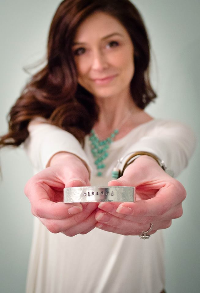 Blessed Hand Stamped Silver Cuff Bracelet