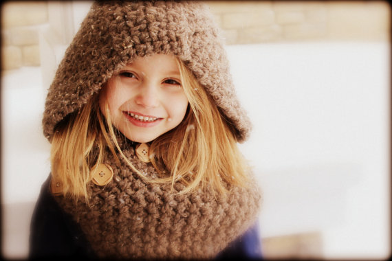 Crochet Hooded Cowl Girl Accessories