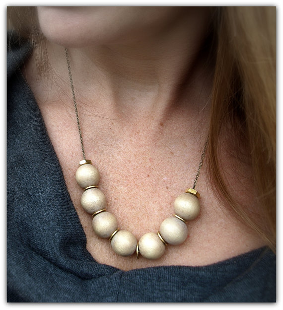 Beige Wood Beaded Statement Necklace