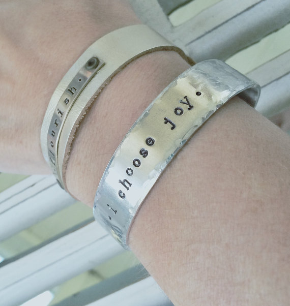 Hand Stamped Silver Cuff and Leather Bracelet
