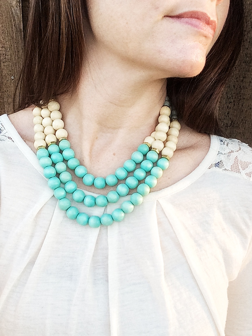 Tranquil Aqua Breeze Wood Beaded Multi Strand Statement Necklace