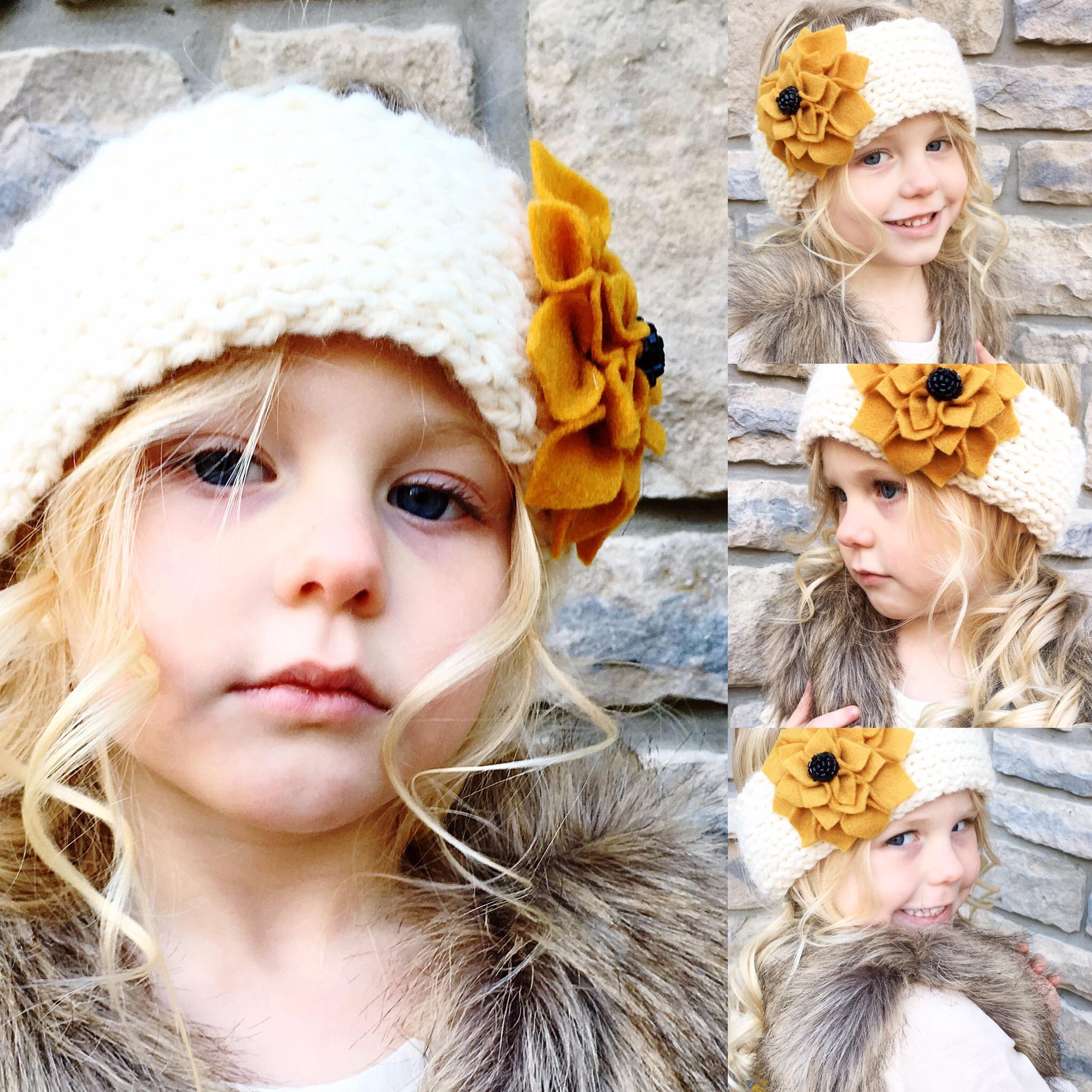 Adorable Knitted Dahlia Flower Ear Warmer for Girls