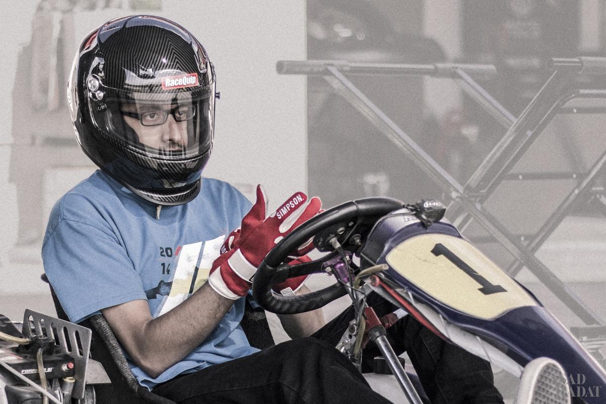 Preparing for the World Formula karting session.