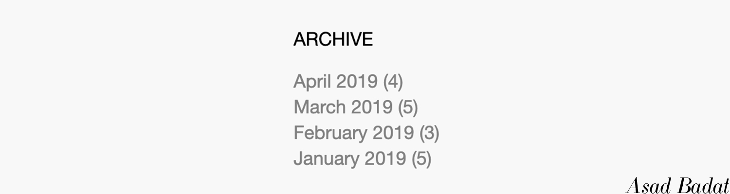 My current blog post archive for 2019.