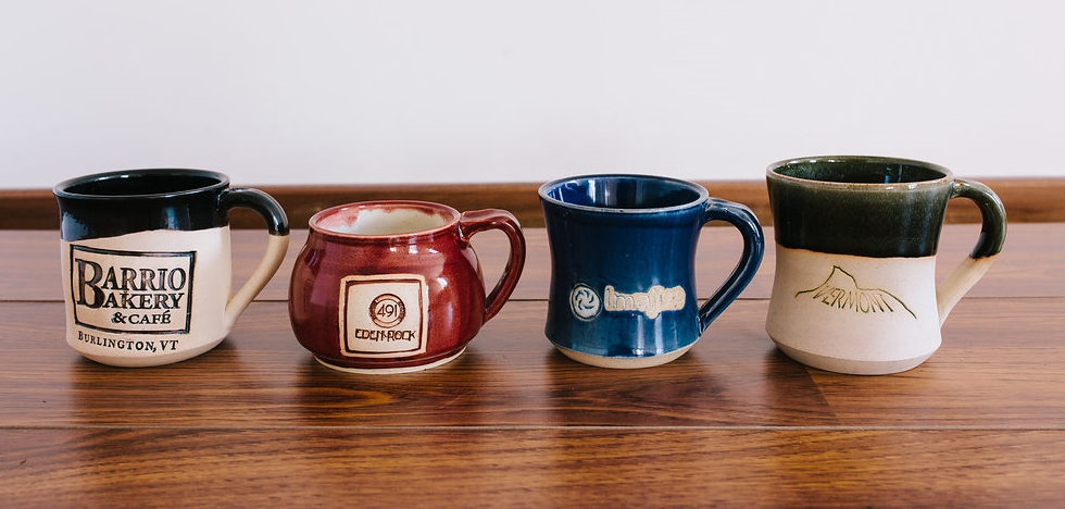 Custom stamped handmade mugs