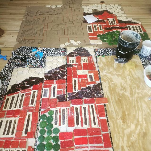 Sometimes you work piece by piece until the day is done.  #studentmural #hydeparkvt #teachingartist #schoolresidency #tiles #mural