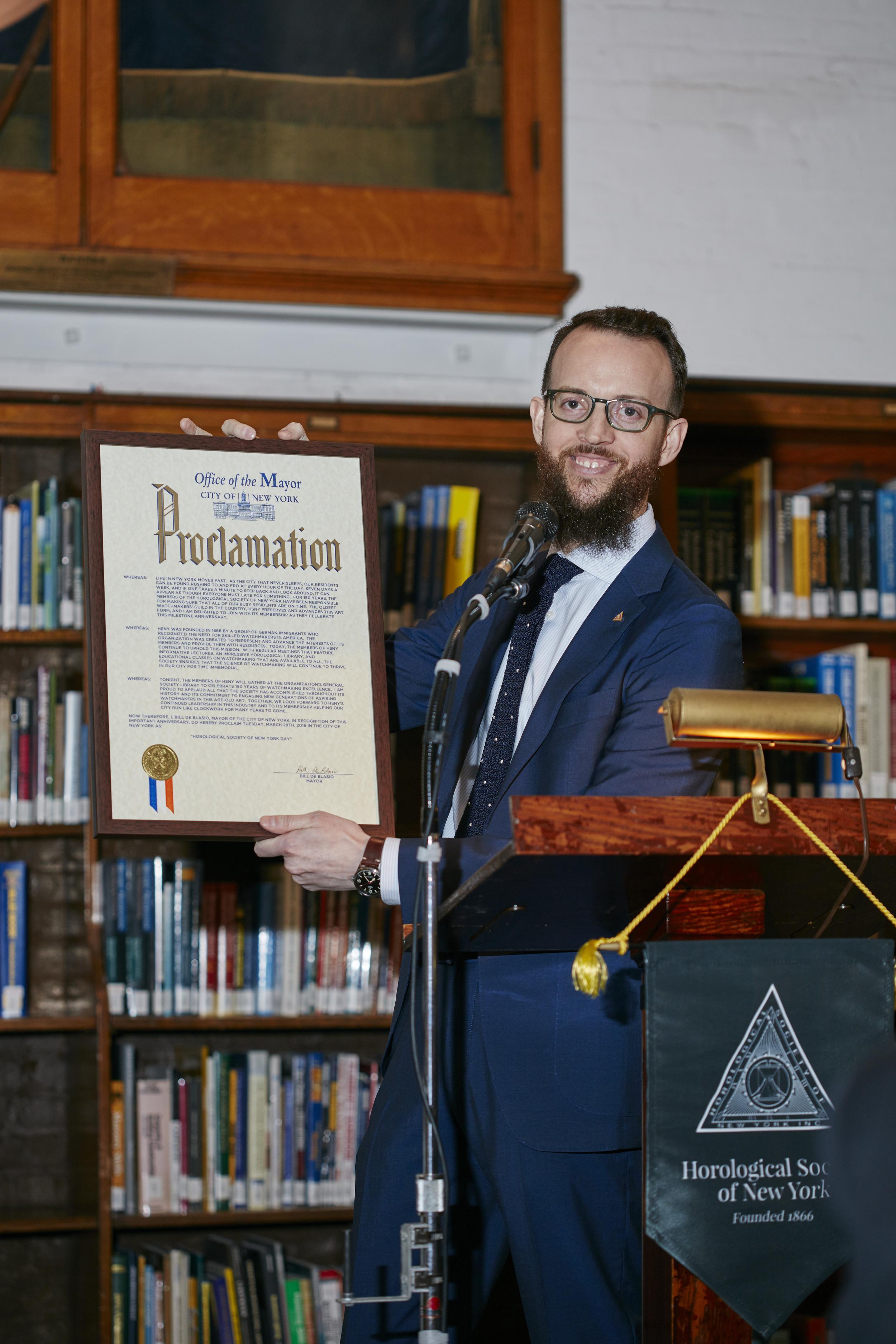 Nicholas Manousos, Vice President of HSNY,presenting a proclamation from New York City Mayor Bill de Blasio