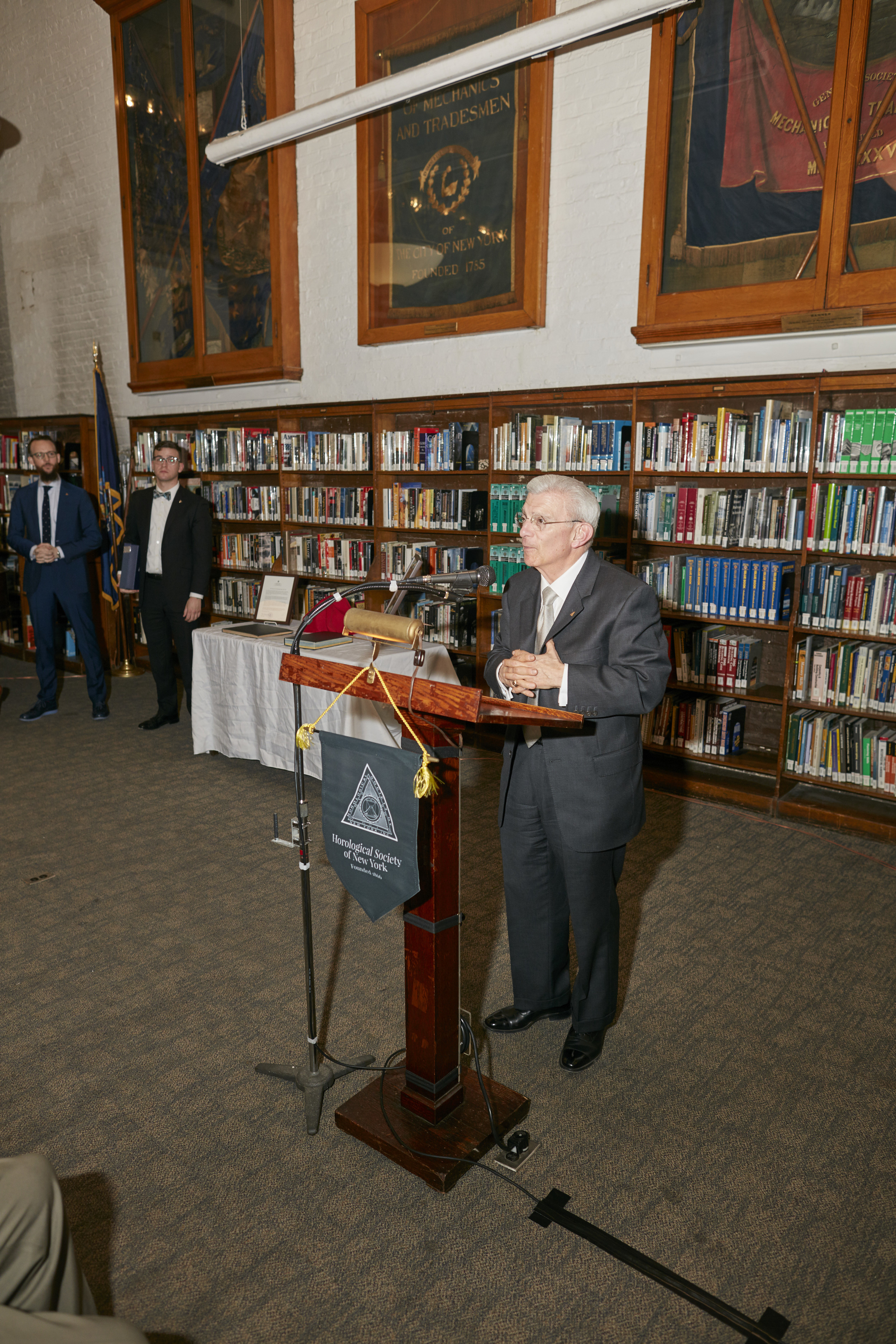 Charles Salomon, HSNY Treasurer & Fellow, speaking to the crowd