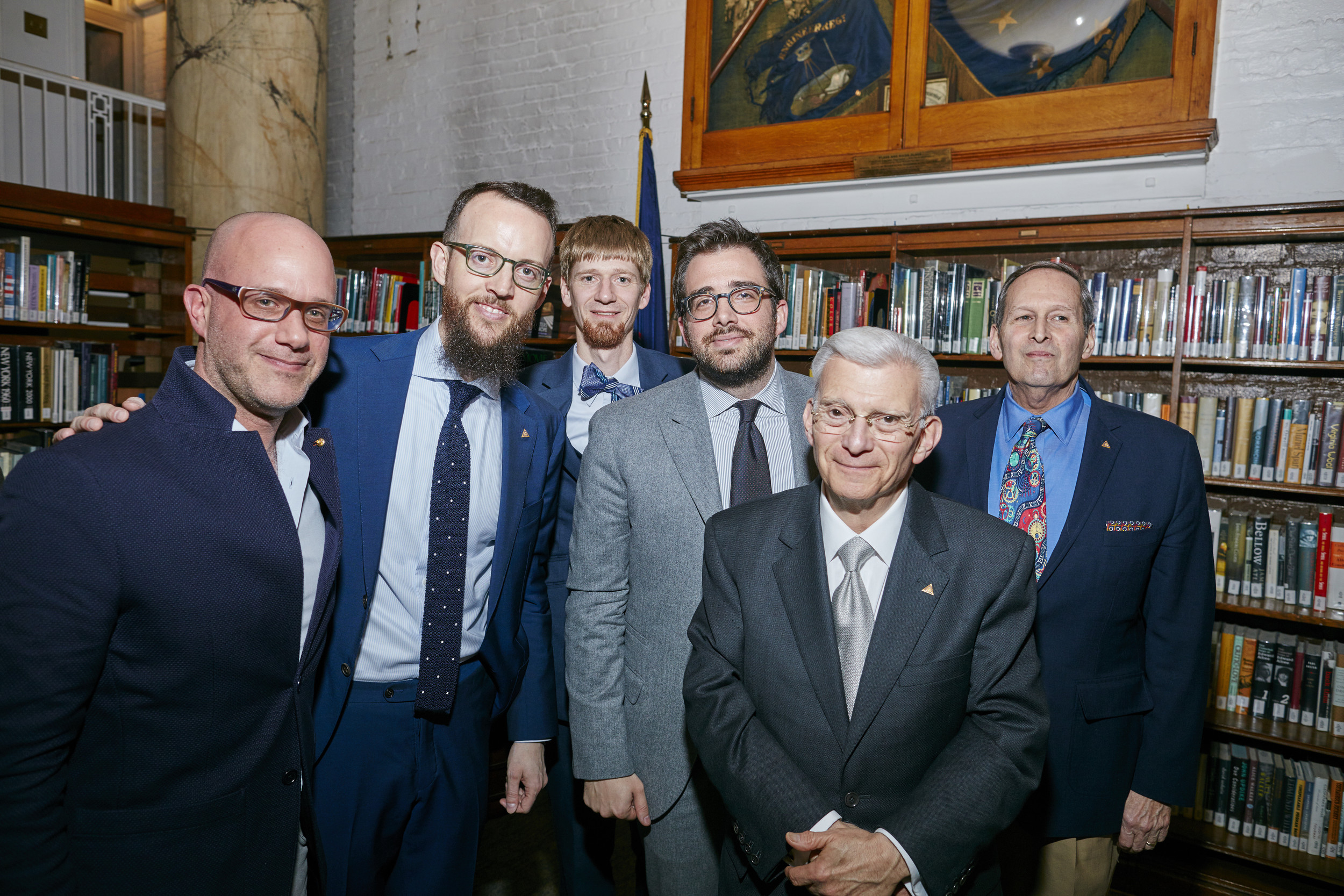 Left to right: Michael Friedman - Historian for Audemars Piguet, Nicholas Manousos - HSNY Vice President, Jordan Ficklin - Executive Director of the American Watchmakers-Clockmakers Institute, Benjamin Clymer - Founder & Editorial Director of HODINKEE, Charles Salomon - HSNY Treasurer & Fellow, Edwin Hydeman - HSNY Pre