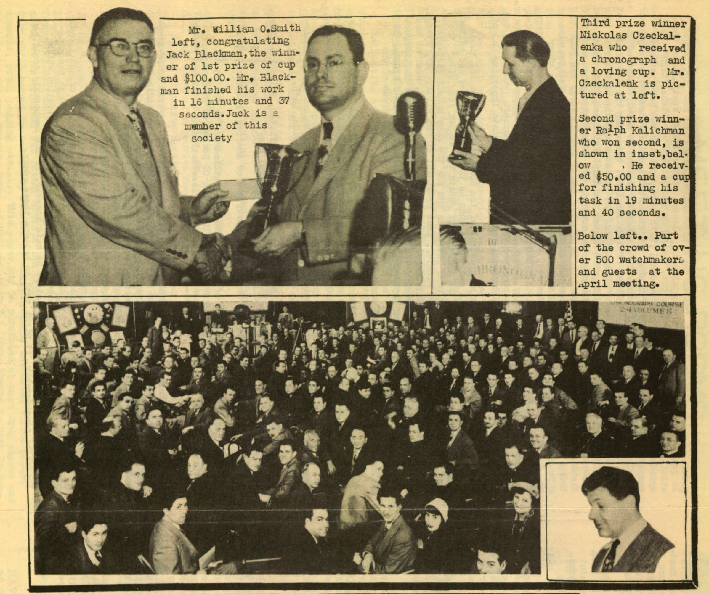 """Take a look at the caption for the lower photograph: """"Part of the crowd of over 500 watchmakers and guests at the April [1950] meeting."""" Wow!"""