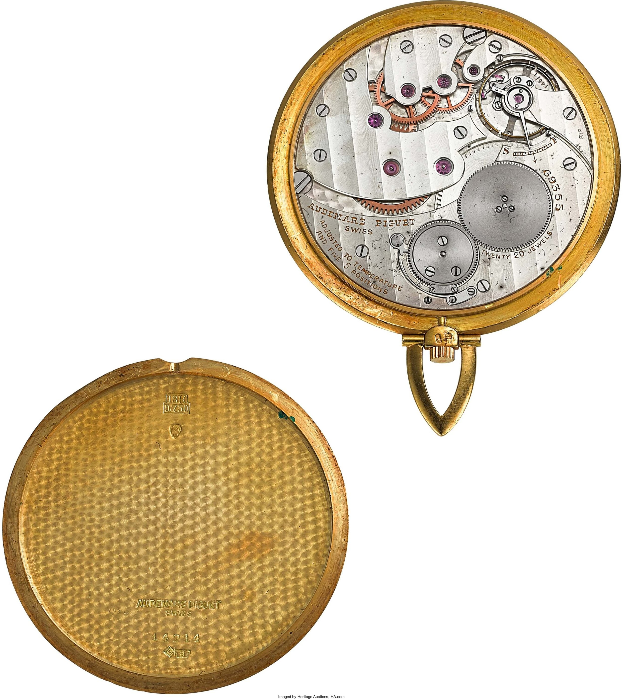 Audemars Piguet 18K Gold Ultra-Thin Pocket Watch Signed Tiffany & Co. Circa 1959