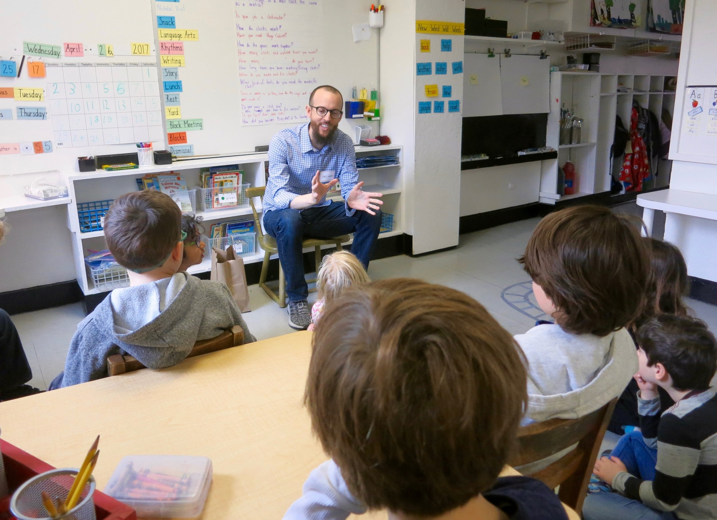 HSNY President Nicholas Manousos speaking to first grade students at a school in Manhattan