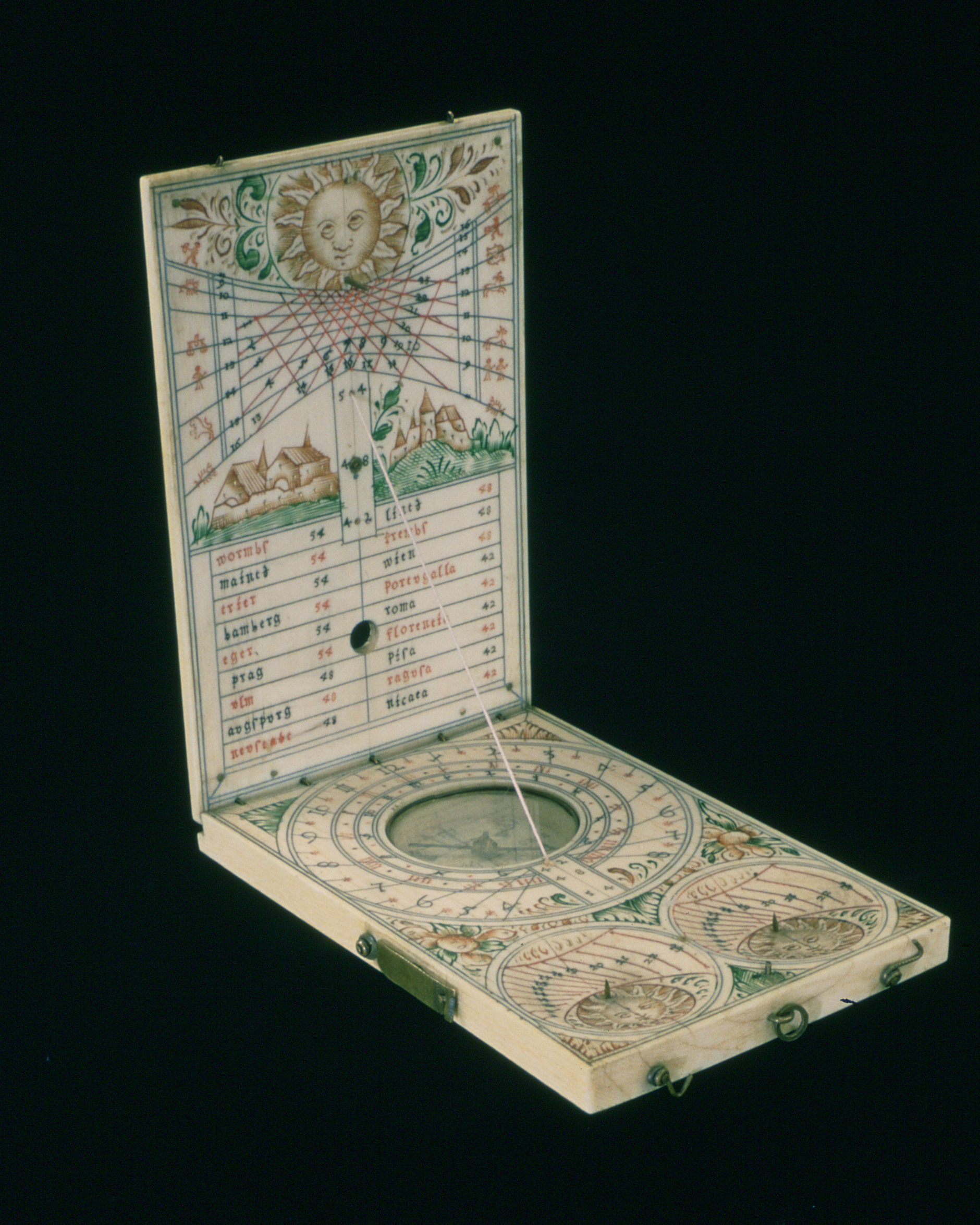 17th century Nuremberg Ivory Diptych sundial showing latitudes for different cities, Italian hours, Babylonian hours, and the number of hours of daylight and darkness (inventory no. 7899,  The Collection of Historical Scientific Instruments, Harvard University ).