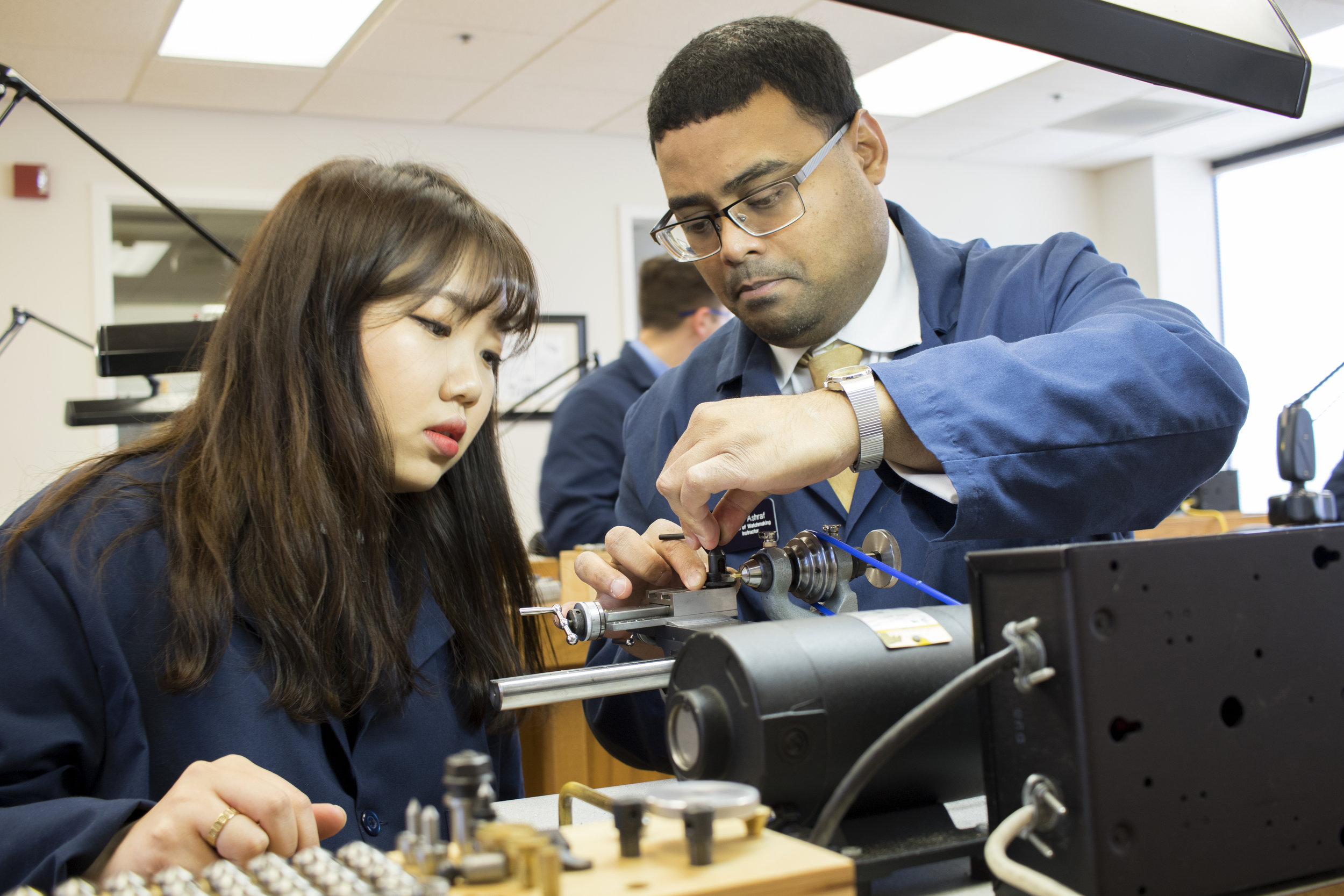 Lathe instruction at the OSUIT School of Watchmaking