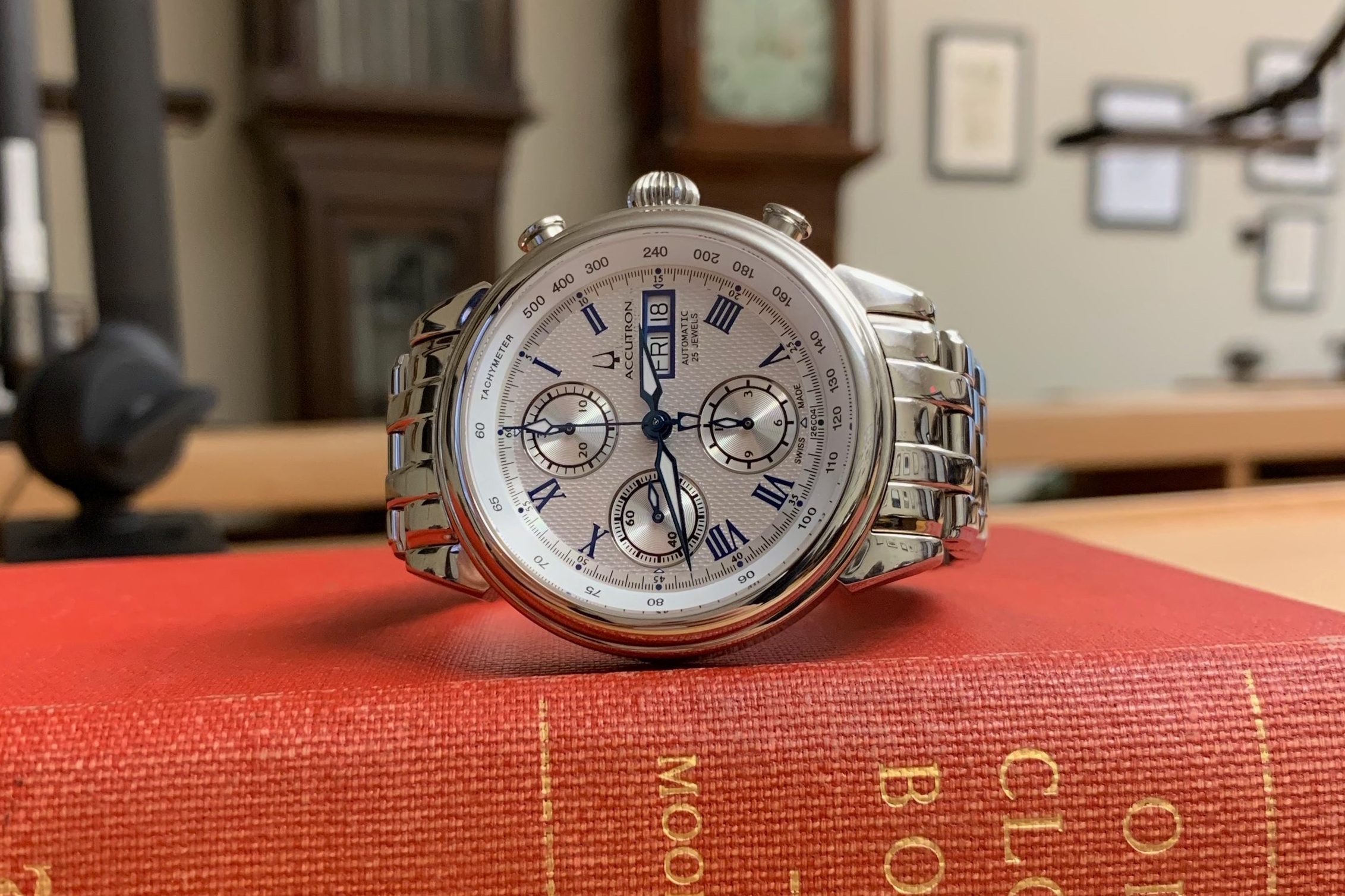 Lot 5 - Bulova Accutron Watch, Circa 2010  Beautiful chronograph in great condition. Donated by Ed Hydeman, HSNY's Executive Director.  Estimate: $500 - $1,000