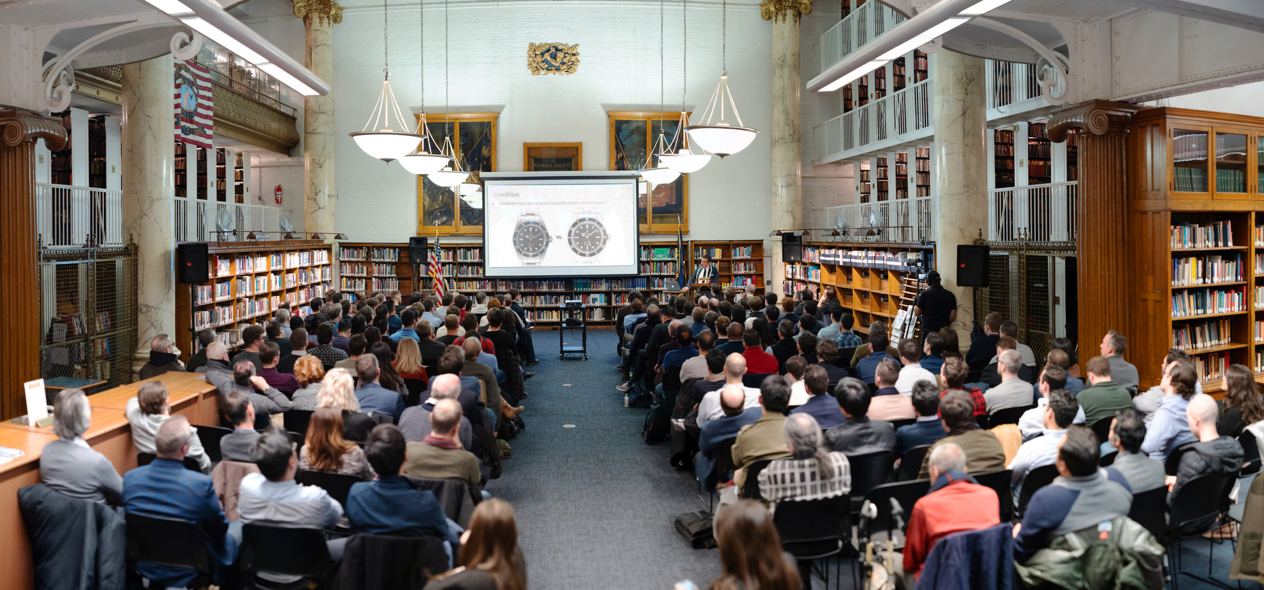 Panorama of the General Society Library during the Horological Society of New York's May Lecture. Photo by Atom Moore.