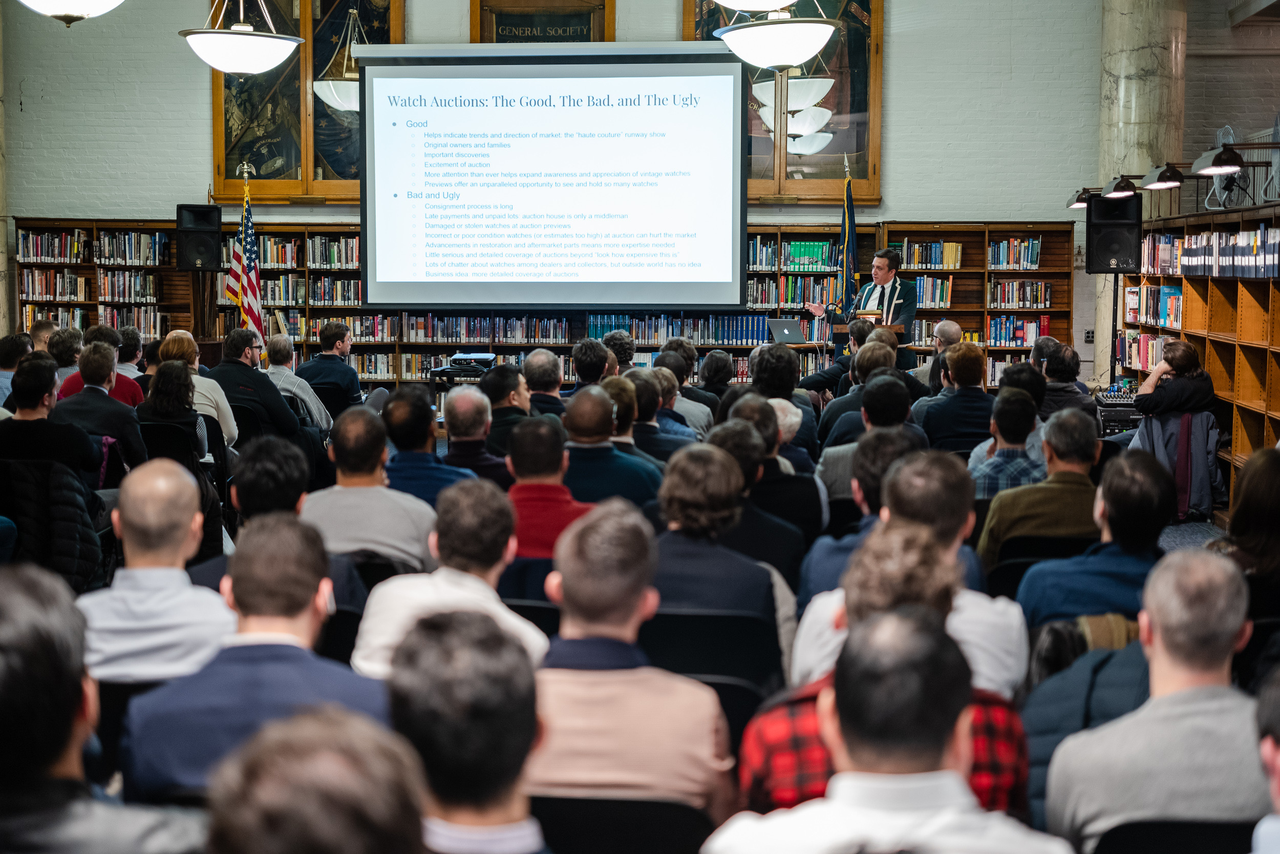 The record crowd at the Horological Society of New York's May Lecture. Photo by Atom Moore.