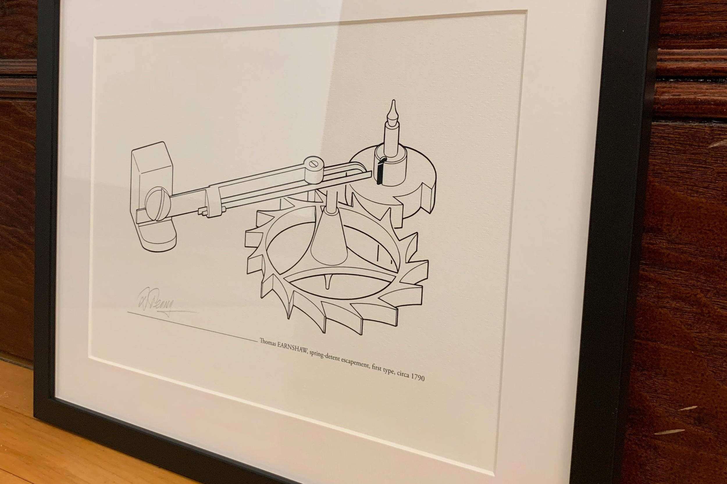 Lot 2 - Framed Escapement Print by    David Penney   Earnshaw spring-detent escapement, first type, circa 1790. By the world-famous horological illustrator, David Penney.  Estimate: $200 - $500
