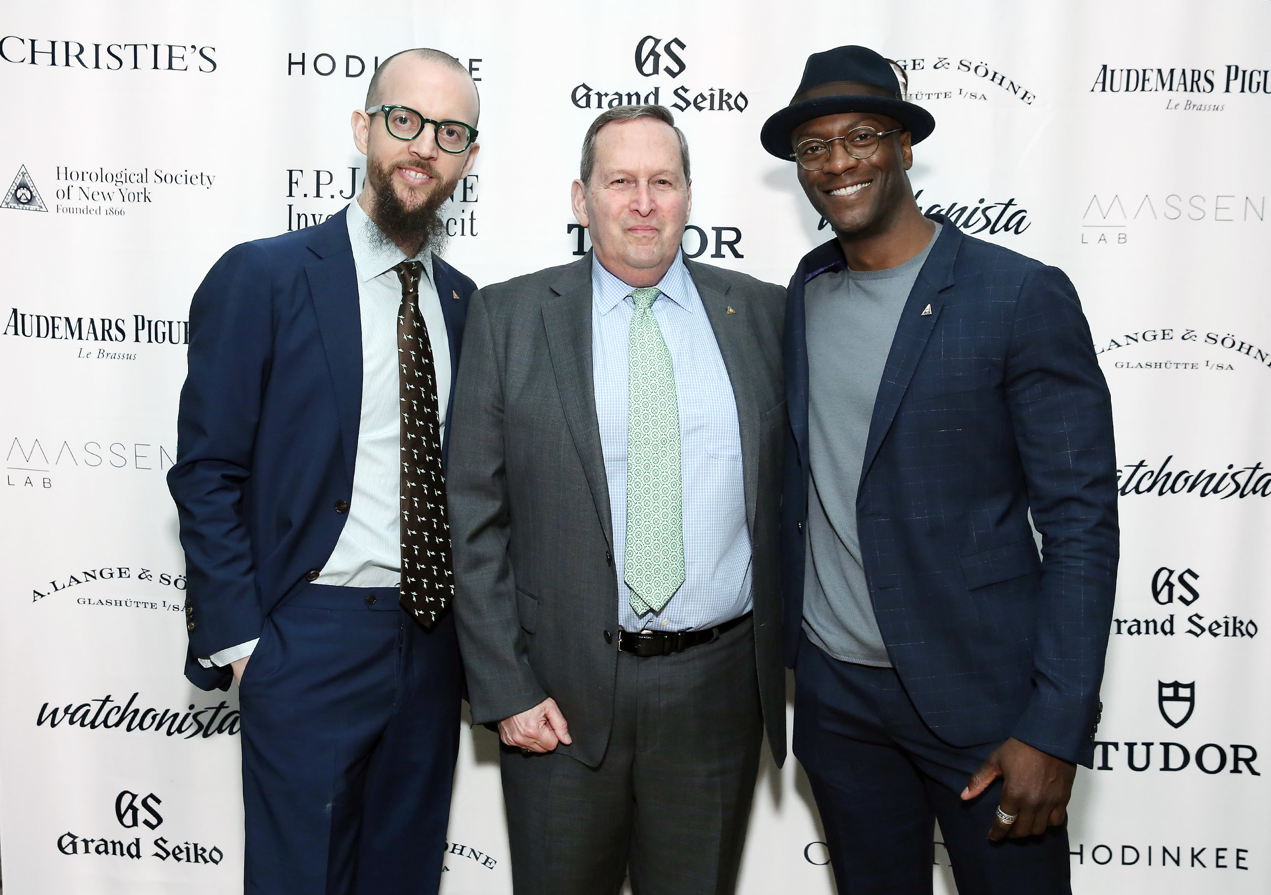 (L-R) HSNY President Nicholas Manousos, HSNY Executive Director Edwin M. Hydeman and Aldis Hodge attend the      2019 Gala & Charity Auction     .