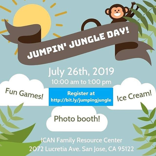 Join ICAN at our Jumpin' Jungle Family Fun Day and play all day under the summer sun ☀️ There will be games and activity booths as well as a photo booth and ice cream! Invite your friends and family and come have fun! 🎈🏖🎨🍨🍦🎼 Register at http://bit.ly/jumpingjungle