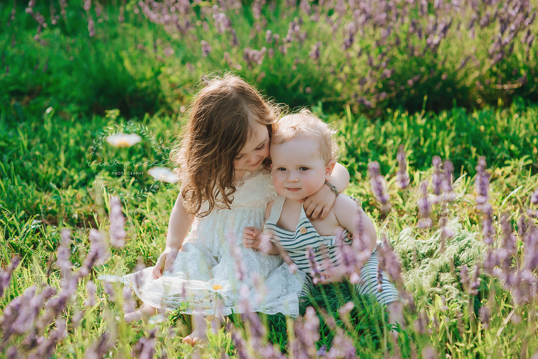 Little boy and girl in lavender field