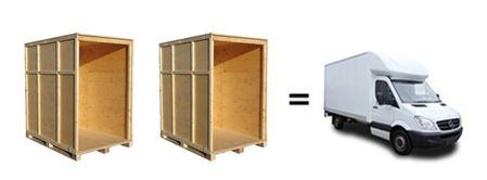 White luton van with storage boxes