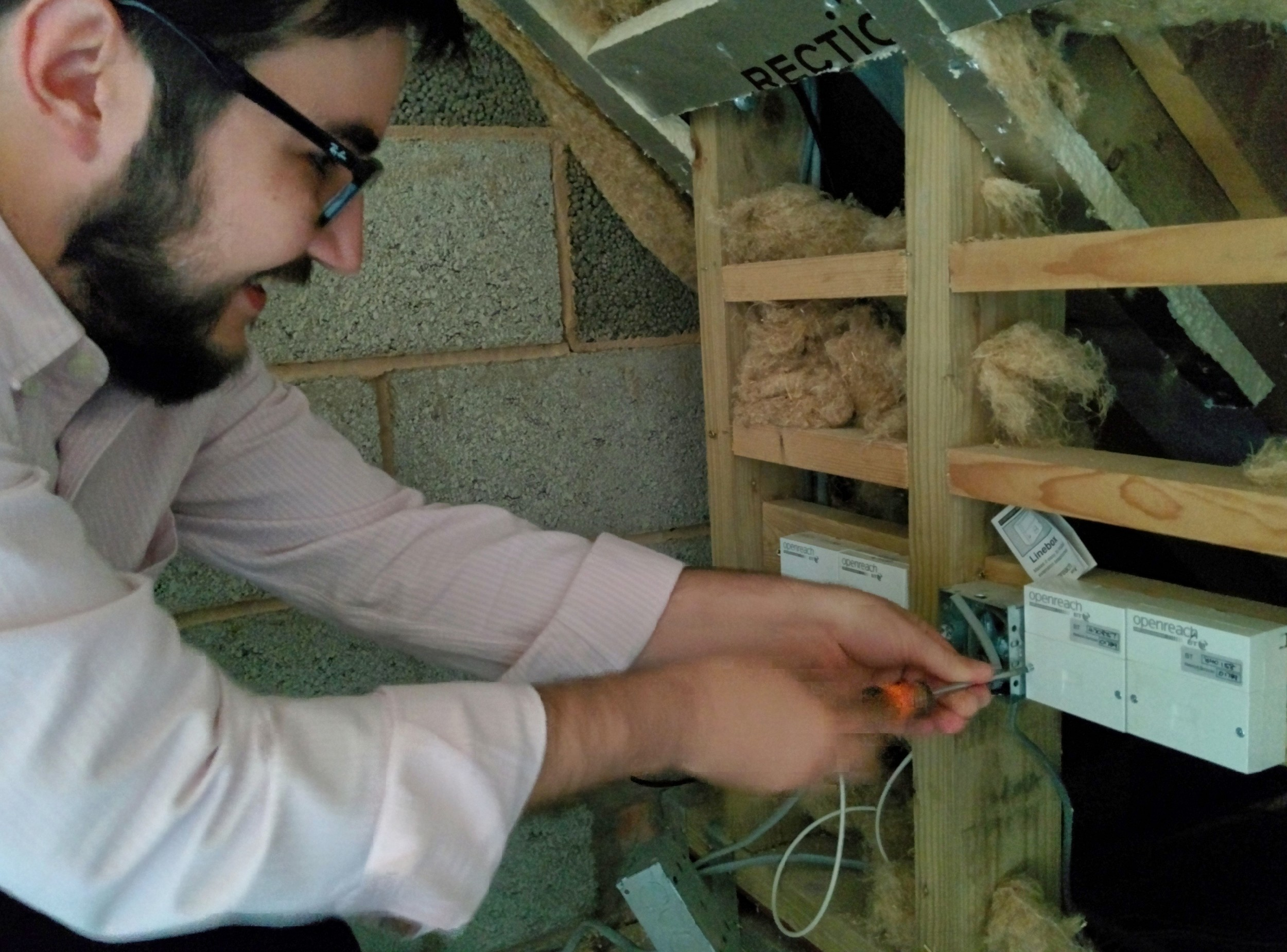 William installing a broadband and VoIP connection at a business based in London.