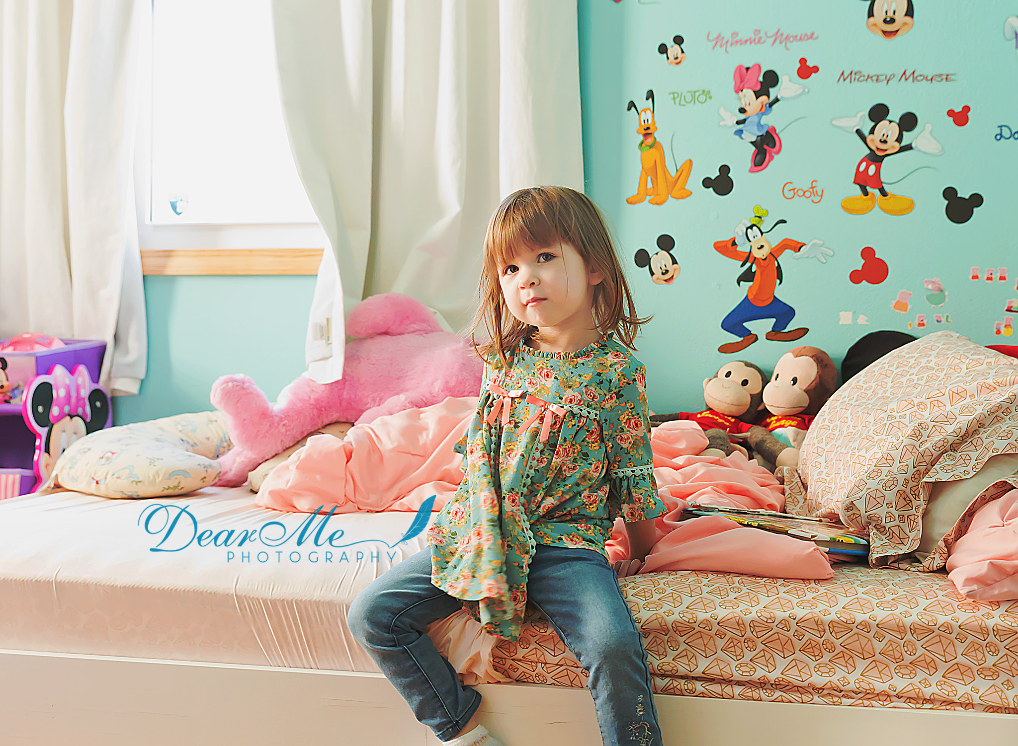 dear me photography mandan faces of autism little girl sweet contemplation sitting on her bed