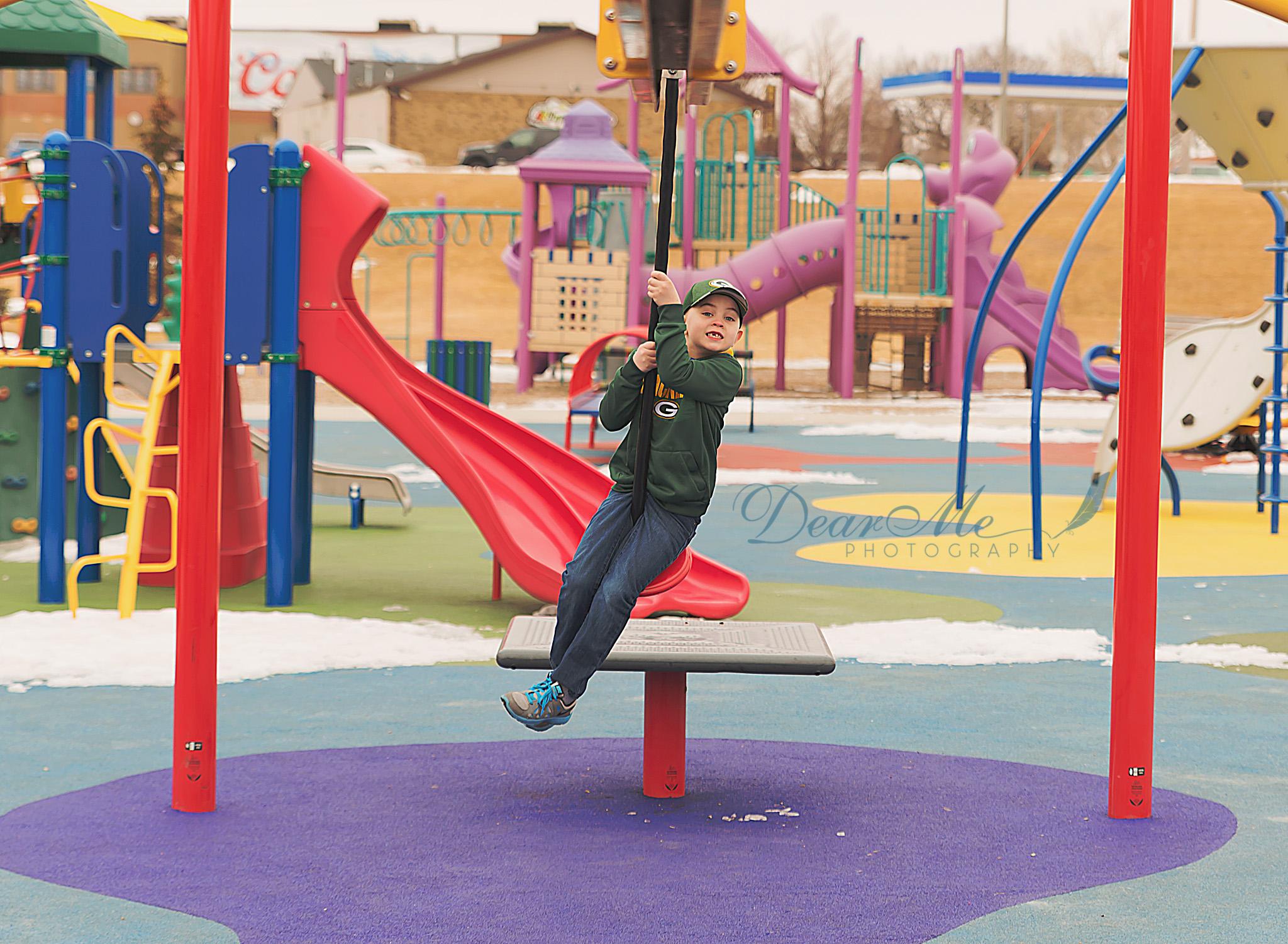 dear me photography mandan photographer boy on standing swing