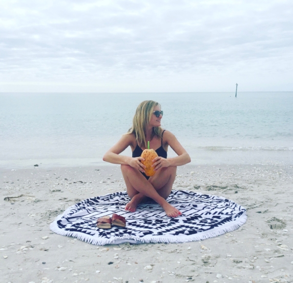 TOWEL: THE BEACH PEOPLE ,  SANDALS: J. CREW ,  BATHING SUIT: MIRACLESUIT ,  SUNGLASSES: PRADA  ( SIMILAR HERE )