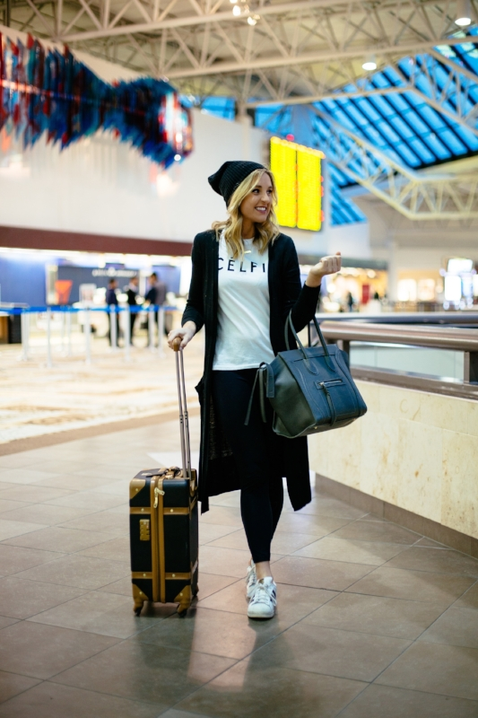 TRAINERS: ADIDAS ,  LUGGAGE: DVF ,  CÉLFIE TEE: SINCERELY JULES