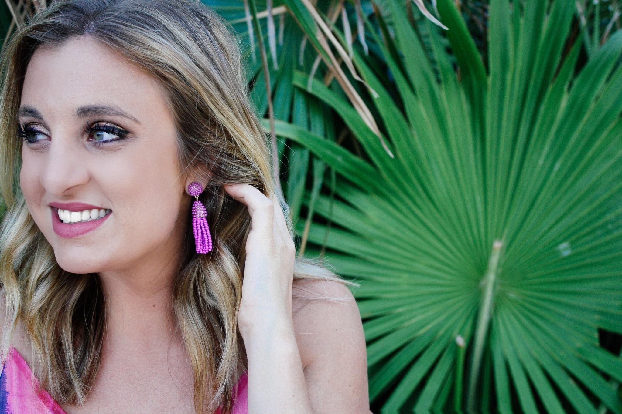 DROP TASSEL EARRINGS: BAUBLEBAR ,  CRINKLE CHIFFON MAXI DRESS: SHOPBOP