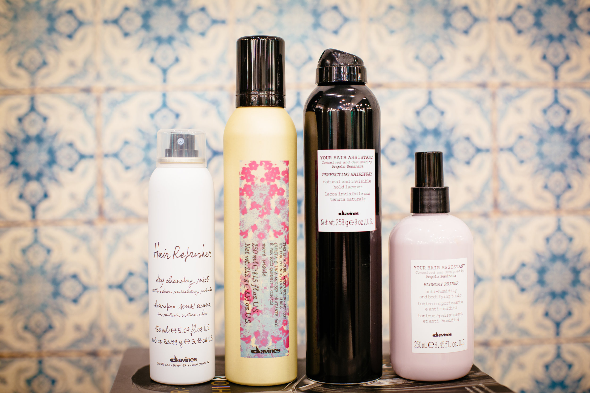 Davines Hair Refresher | Davines Curl Mousse | Davines Perfecting Hairspray | Davines Blowdry Primer