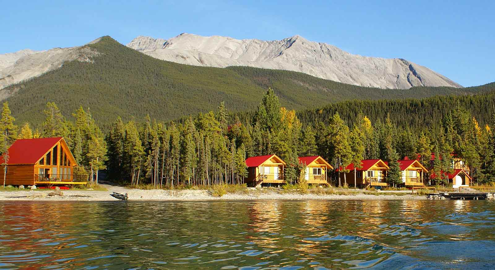 Stay in a lakeshore chalet directly on Muncho Lake