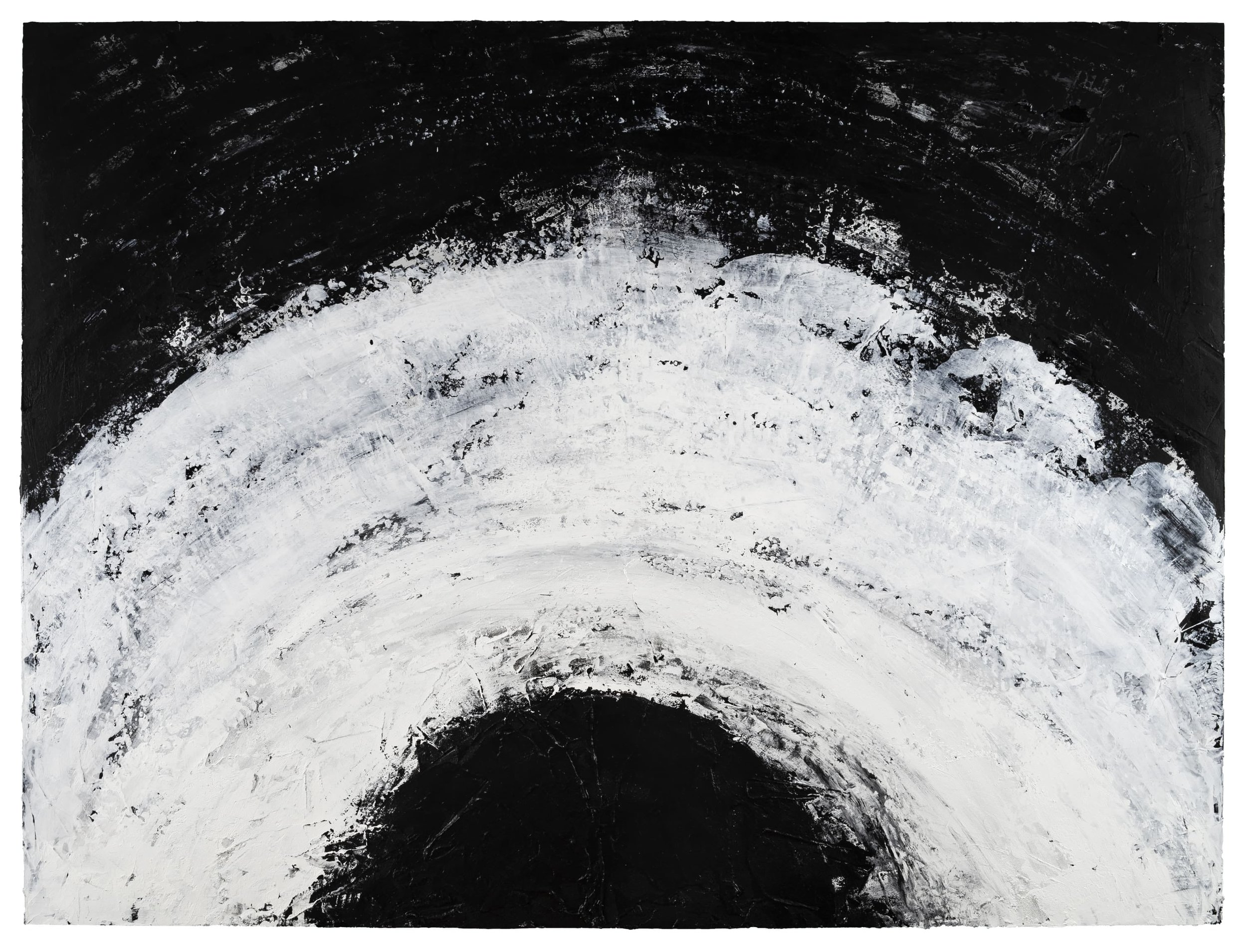 Lens , 2019 Acrylic, pumice, black gesso on birch 36 × 48 in (91.4 × 121.9 cm)