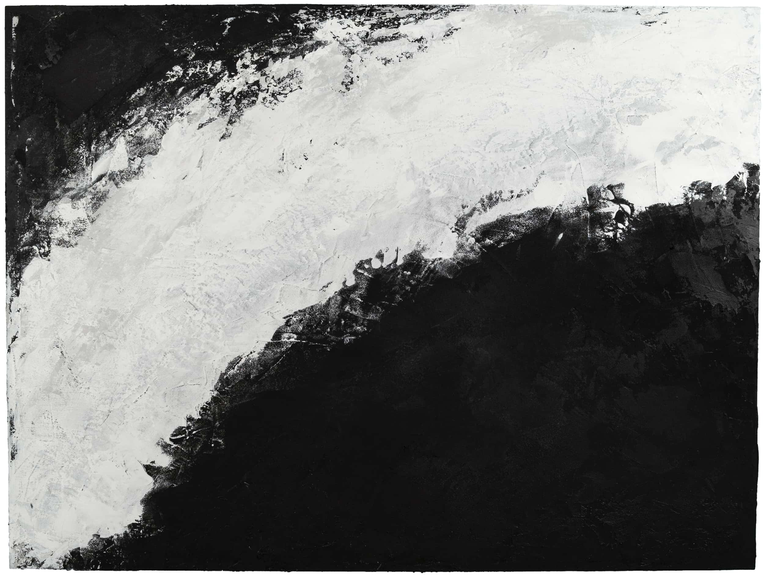 Accretion , 2019 Acrylic, pumice, black gesso on birch 36 × 48 in (91.4 × 121.9 cm)