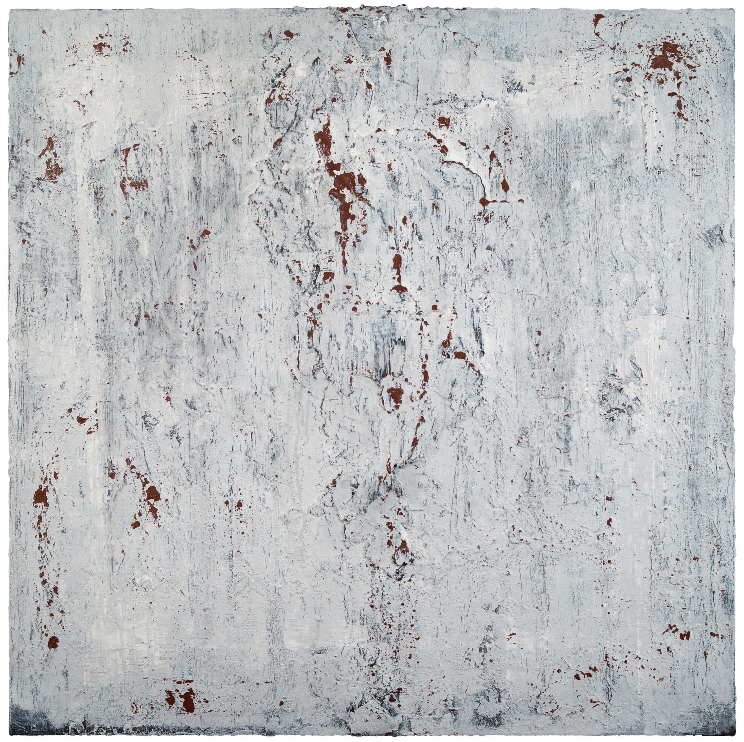 Recur , 2019 Concrete, acrylic, india ink, stucco on canvas 36 × 36 in (91.4 × 91.4 cm)