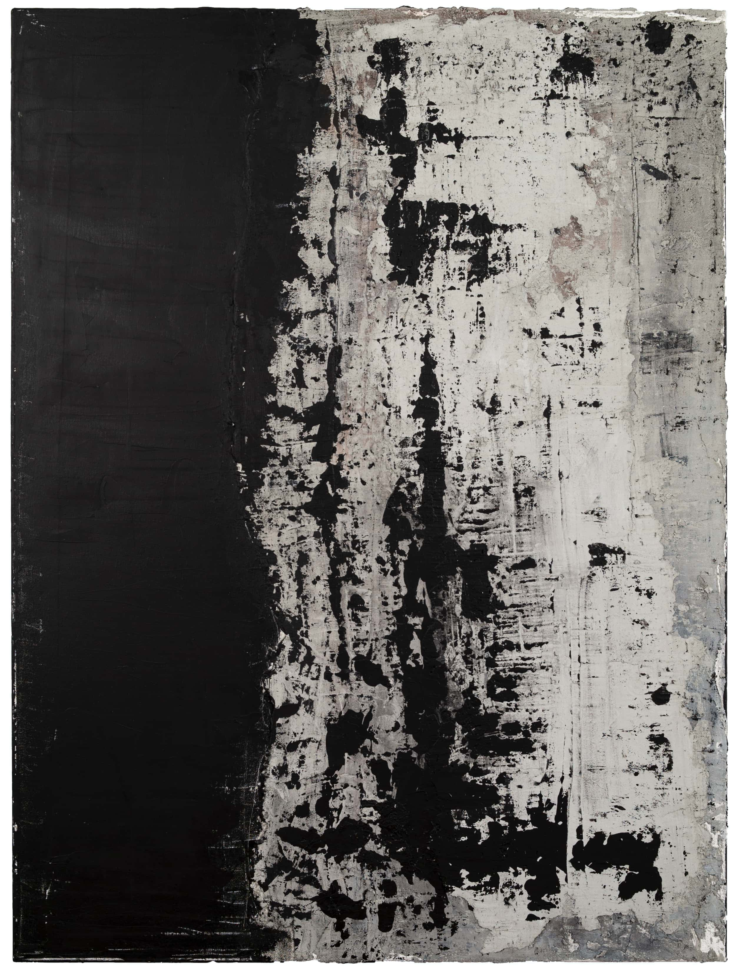 Aaron Siskind , 2019 Concrete, black gesso, oil pastel, acrylic, charcoal on canvas 40 × 30 in (101.6 × 76.2 cm)