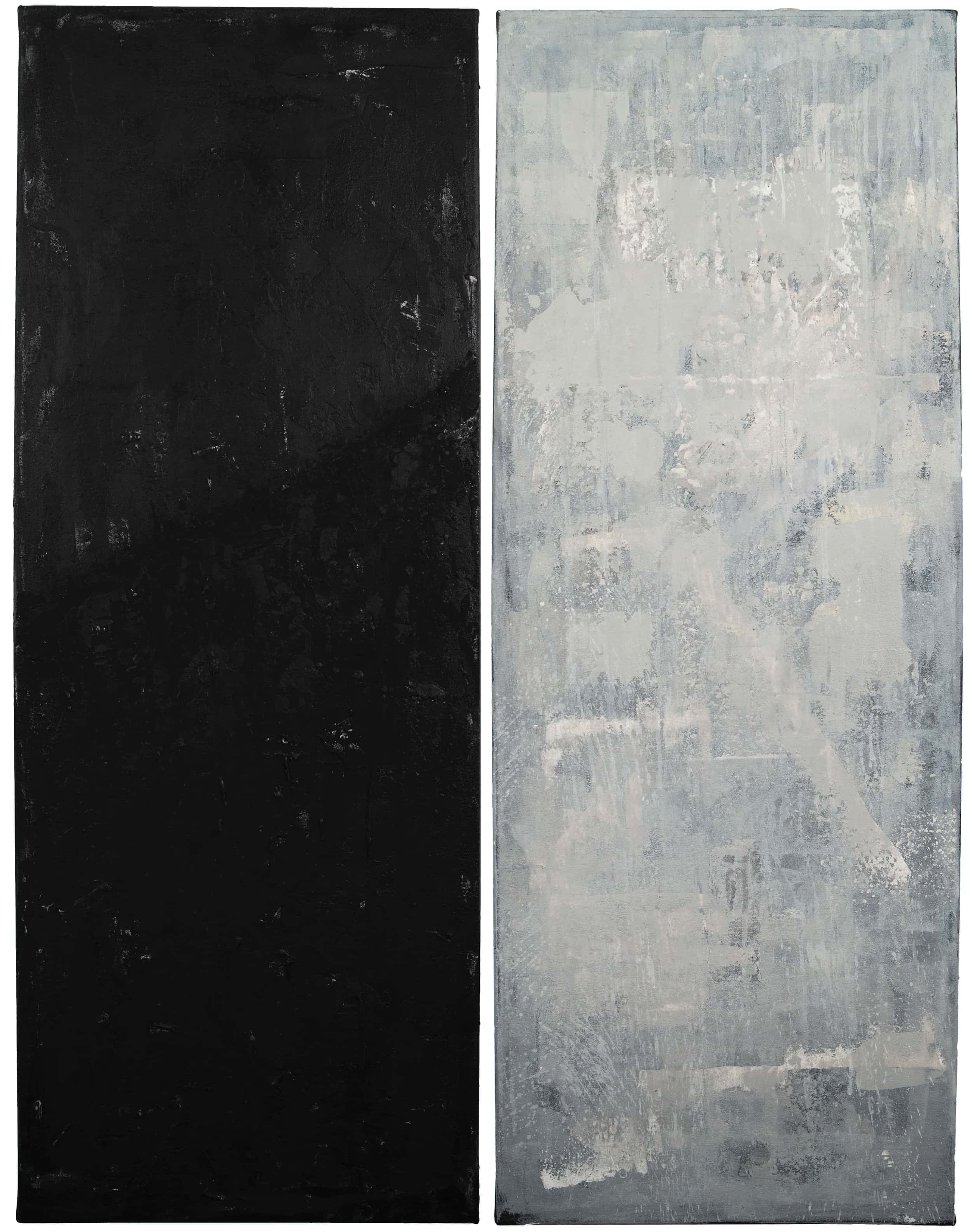 Modulo , 2019 Acrylic, charcoal, stucco, spackling on canvas 2 panels each 48 × 18 in (121.9 × 45.7 cm)