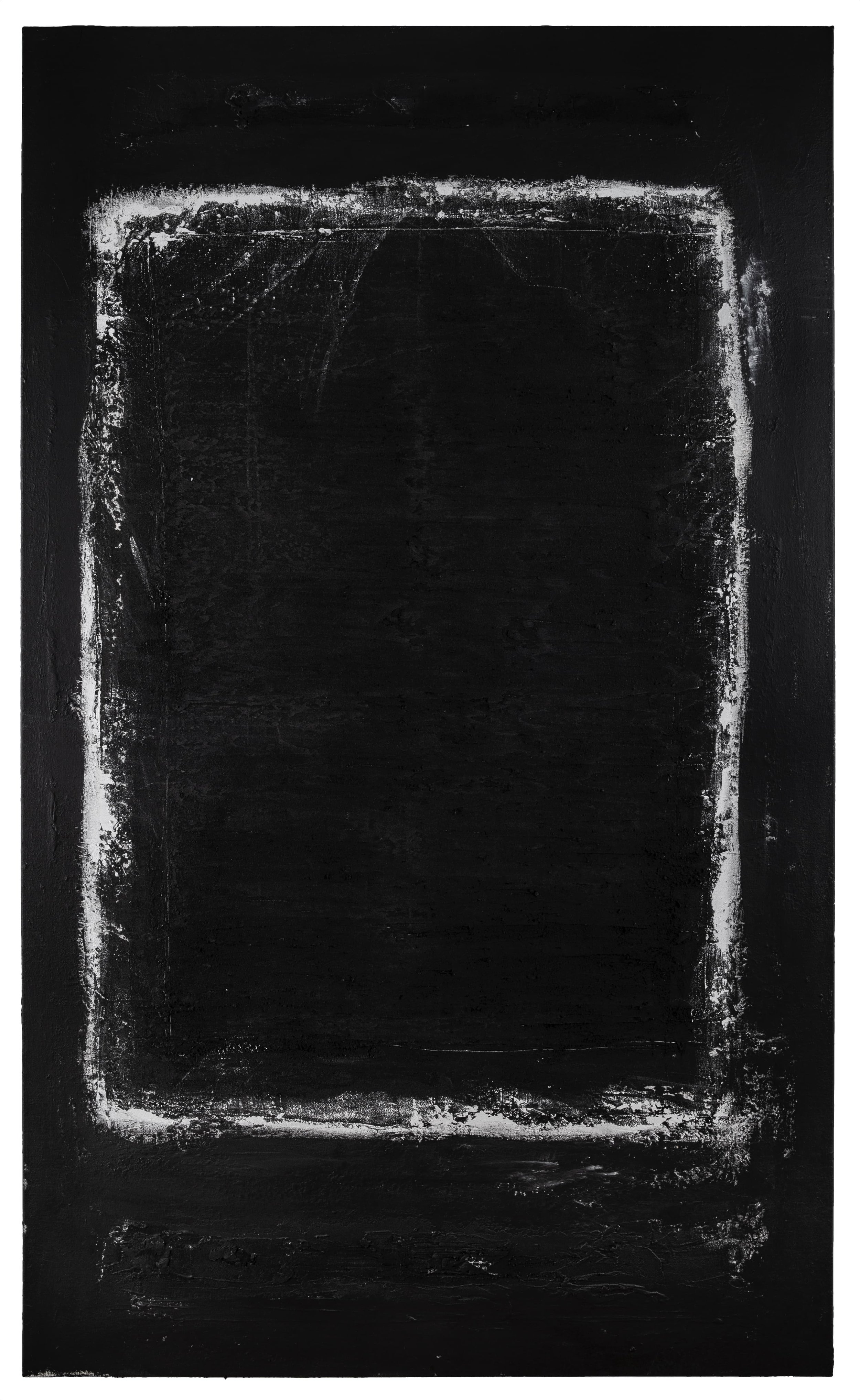 Occulted , 2019 Acrylic, pumice, black gesso on canvas 60 × 38 in (152.4 × 96.52 cm)