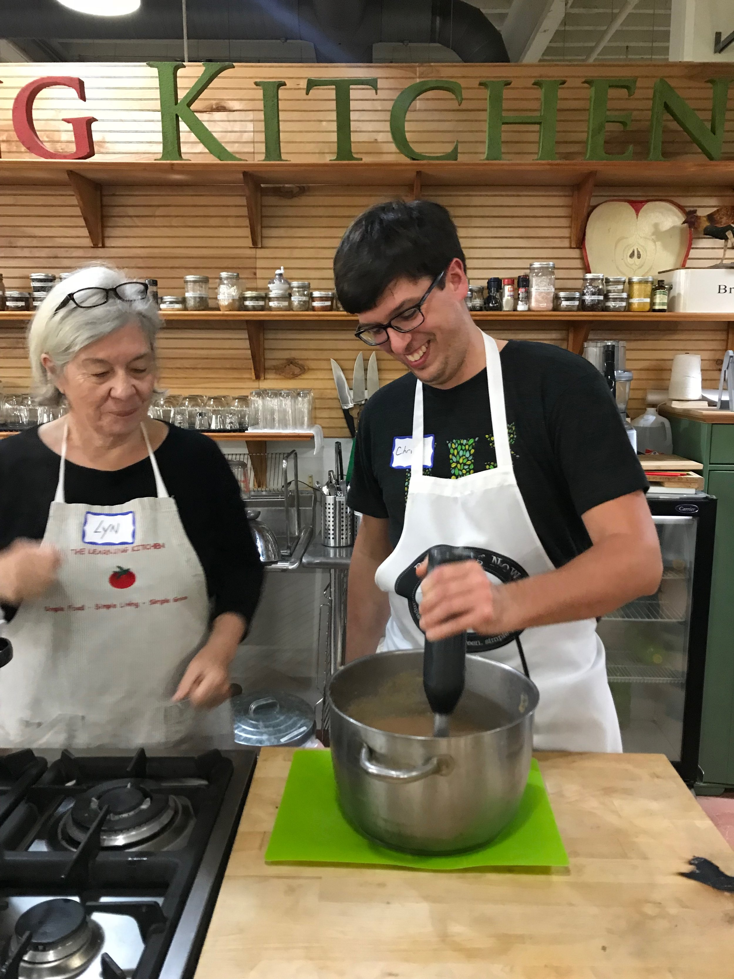 Chris is impressing all of us with his immersion blender skills.