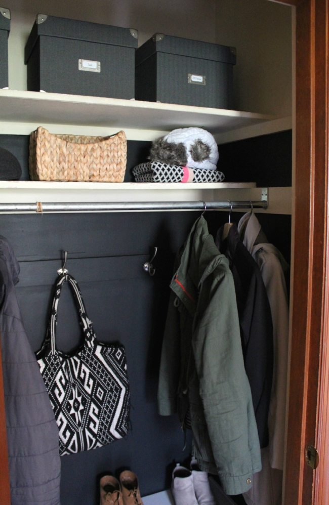Quick and easy coat closet makeover