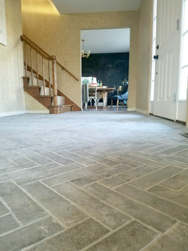 herringbone brick tile floors