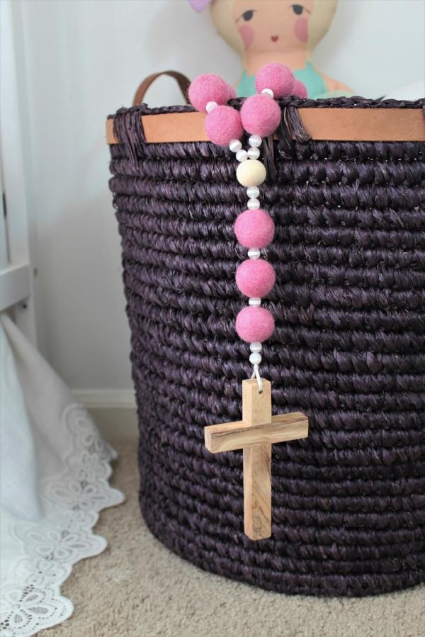 pink felt rosary