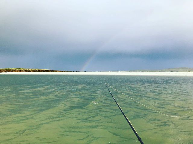 No pots of gold at the end of this rainbow, just searching for silver #flyfishing #seatrout #scottishislands #fishinglife #greysflyfishing #saltwaterfishing