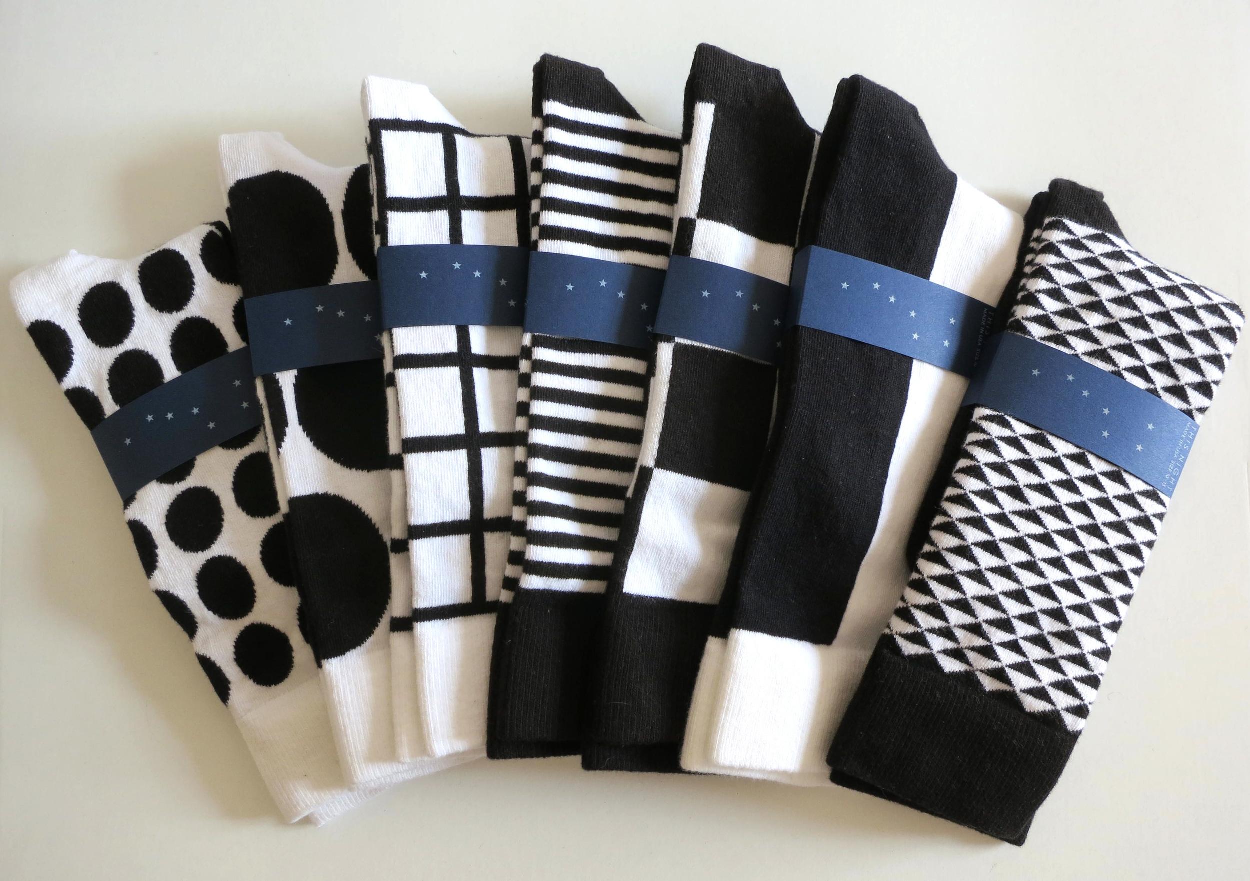 POLKA, DOTTY, GRID, STRIPE, CHECK, HALF, and KYOTO in black and white