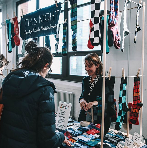 My sock stand at the Brooklyn Flea, Industry City